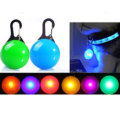 Cat Dog Tag LED Lights Batteries Included Solid Colored Plastic Transparent White Orange