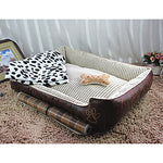Cat Dog Mattress Pad Bed Bed Blankets Leather Cotton Pet Blankets Waterproof Beige Coffee