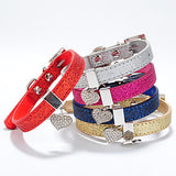 Cat Dog Collar Adjustable / Retractable Heart Rhinestone PU Leather Rose Red Blue