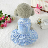 Dogs Dress Dog Clothes Light Blue Pink Costume 100% Polyester Plaid / Check Geometic Bowknot Cute Pattern Dress XS S M L XL