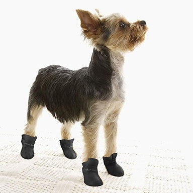 Dogs Dog Boots / Dog Shoes Rain Boots Waterproof Solid Color Cute For Pets Silicone Rubber PVC Black