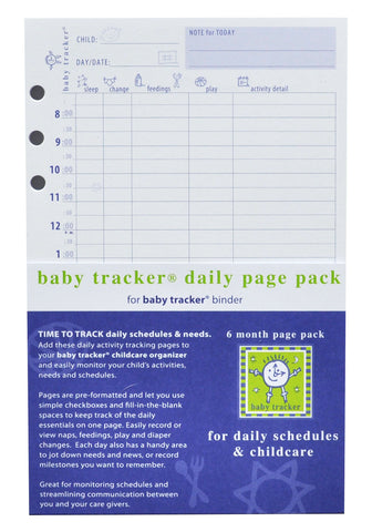 baby tracker daily page pack and 6 month refill for binder-side 1