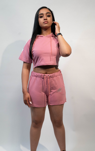 Women's Baby Rose Crop Set