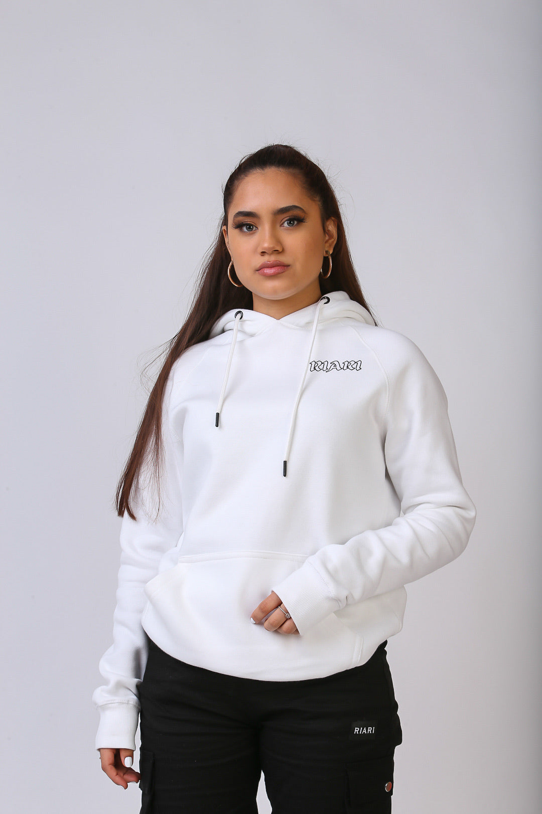 White Rich Rose Fitted Hoodie