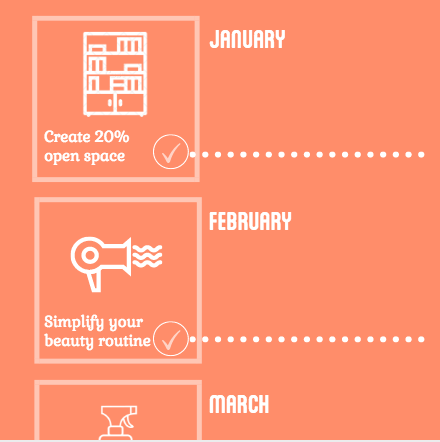 Month by month calendar: How to live with less clutter