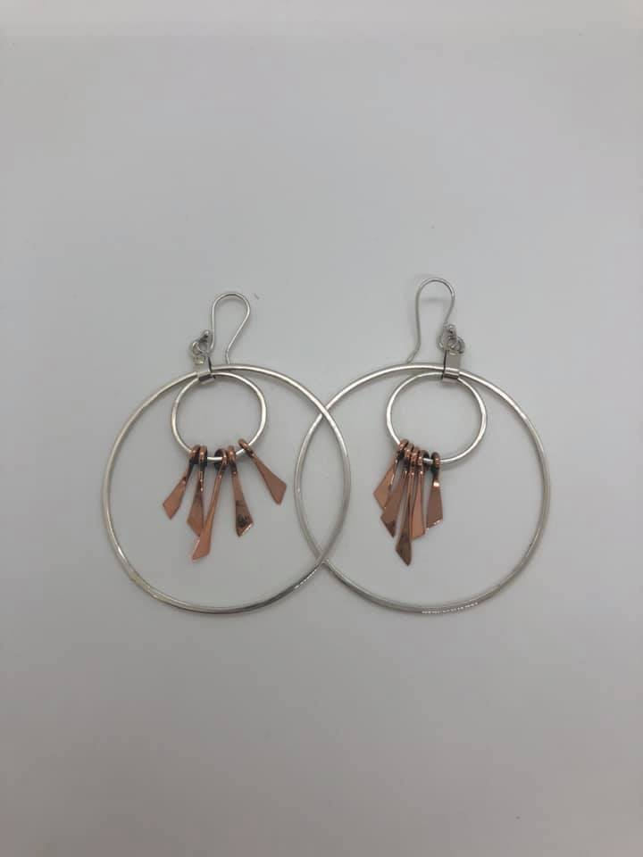 Sterling Silver with Copper Feather Earrings