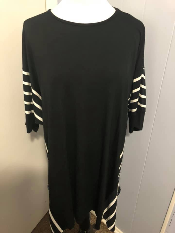Black with White Stripes Tunic