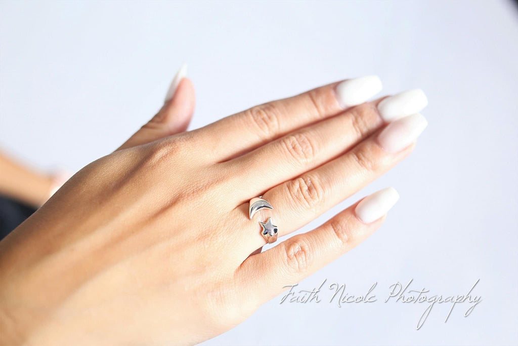 Sterling Silver Moon & Star Stacker Ring