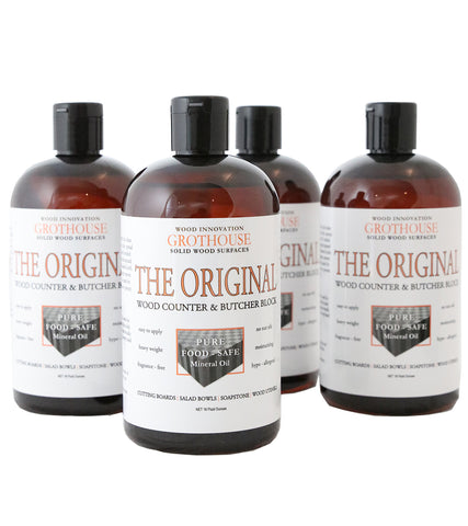 Grothouse Original Oil™ | Butcher Block Oil | Wood Countertop | Cutting Board Oil | 4 Bottles