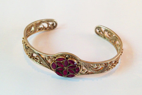 925 silver bracelet, with flower of life in ruby
