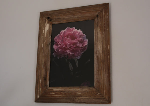 Distressed Wooden Frame with Pink Flower & Black Print