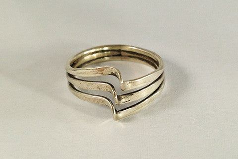 925 silver 3 tier wave ring