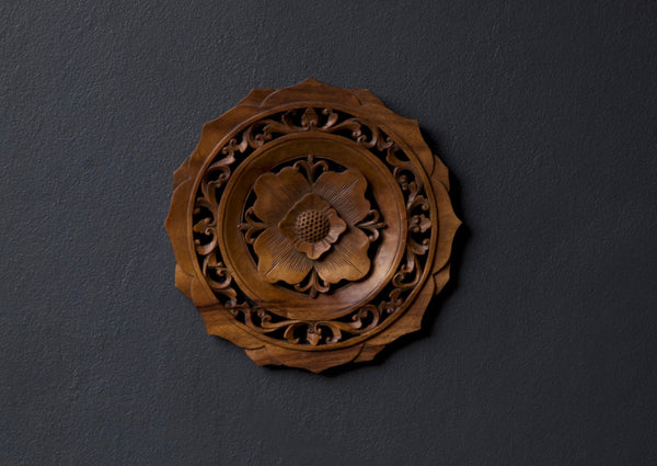 Flower Mandala Hand Carved Wooden Wall Sculpture