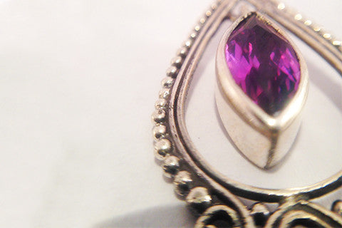 925 Siver Earring, Marquise Cut Amethyst Stone