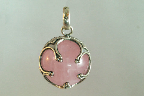 925 Silver Jingling Ball, with Rose Quartz Centre