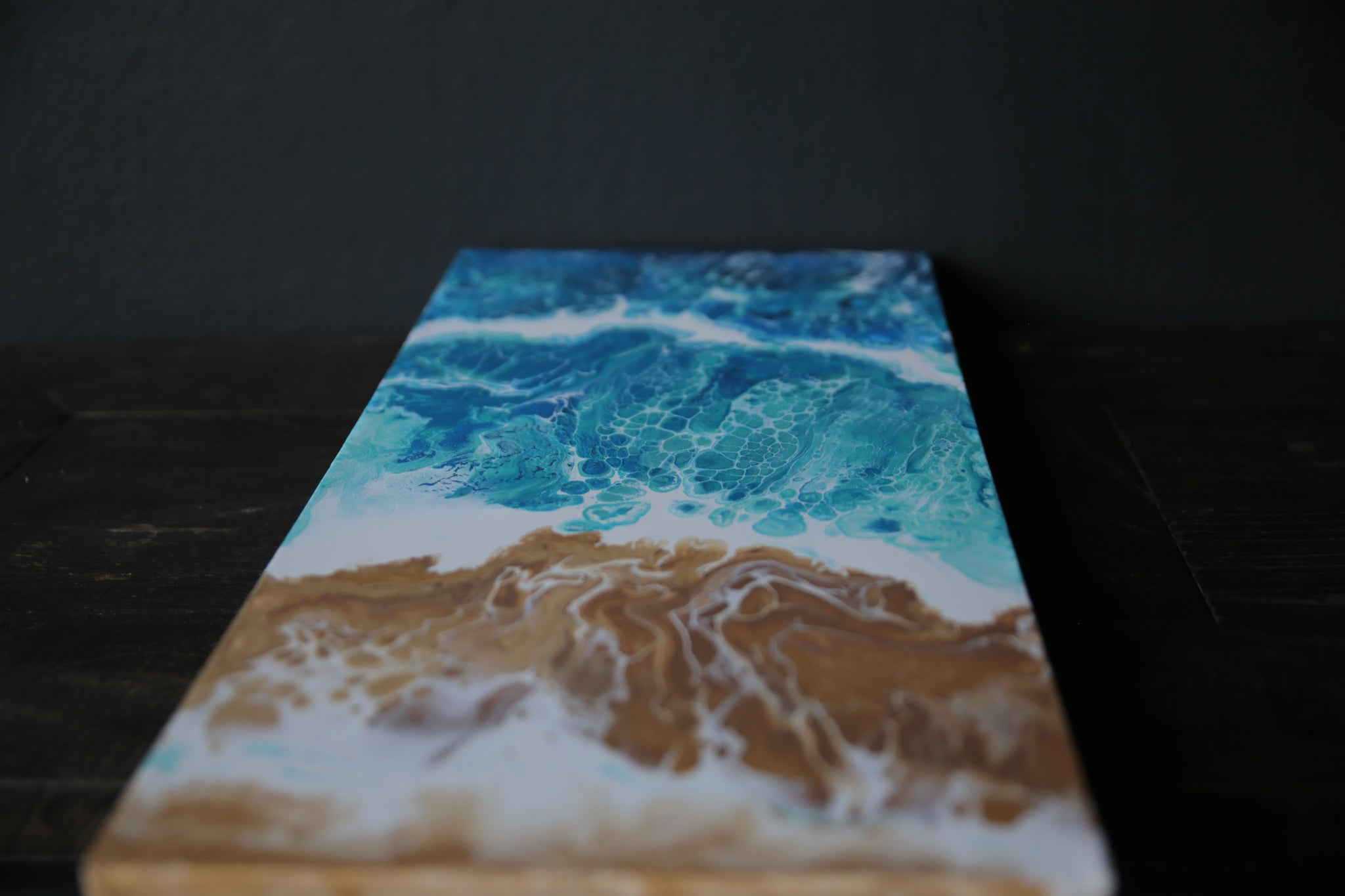 Beach Scene Painting on Canvas - Acrylic Pour Technique - Ocean #3