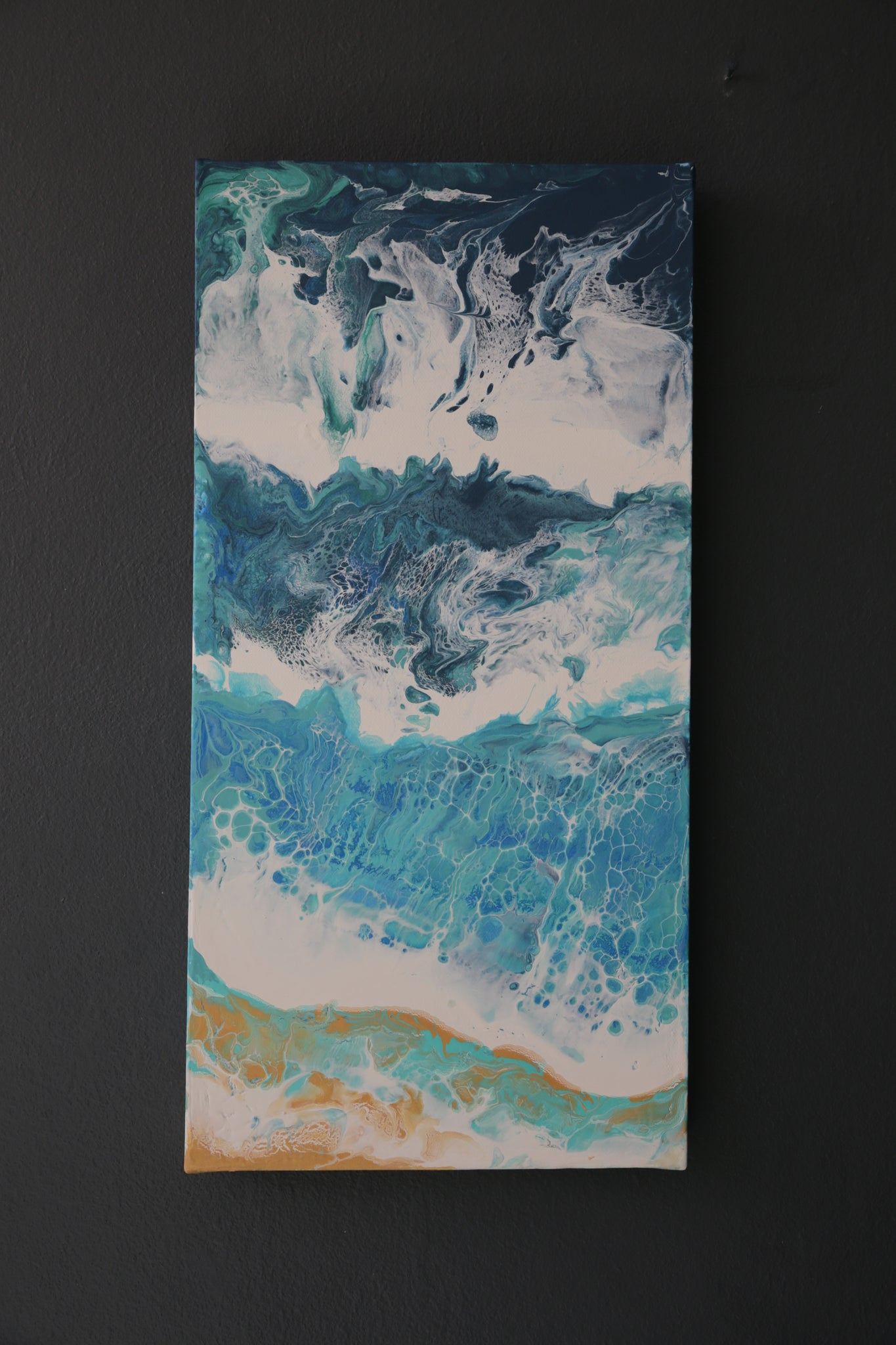 Beach Scene Painting on Canvas - Acrylic Pour Technique - Ocean #2
