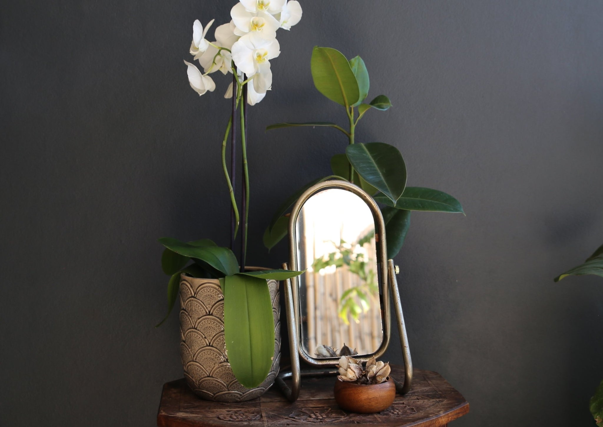 Vintage Standing Vanity / Table Mirror - Stainless Steel Metal