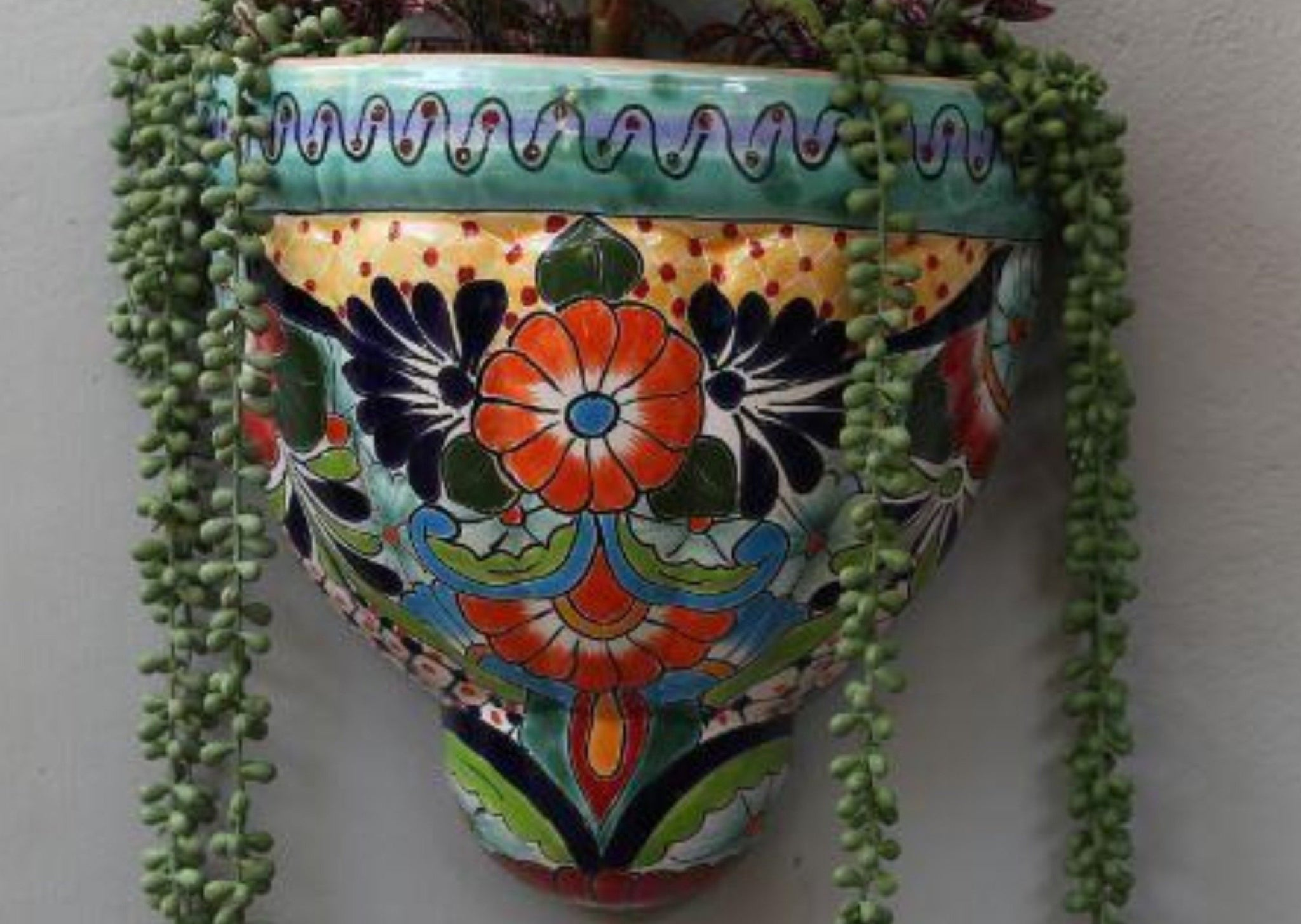Mexican Hand Painted Wall Pots