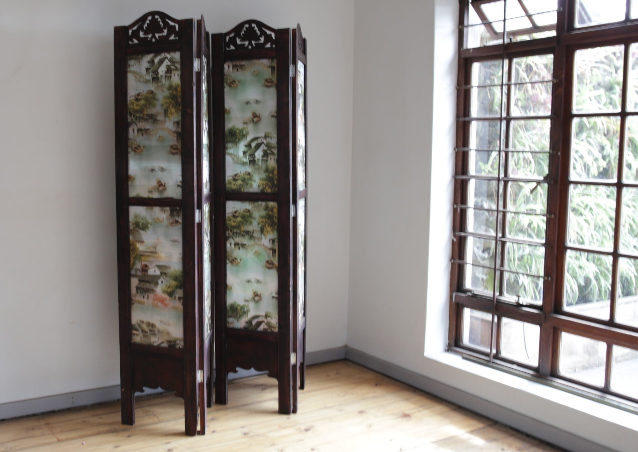 Chinese Sille Folding Screen with hand carved wooden details.