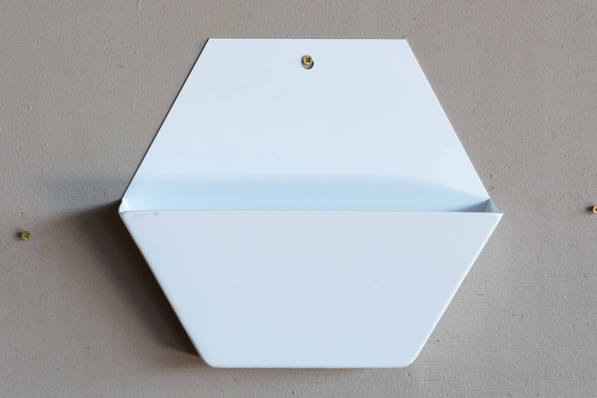 White Small Hex Wall Pot Powder coated
