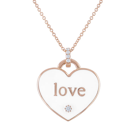 LOVE WHITE ENAMEL NECKLACE