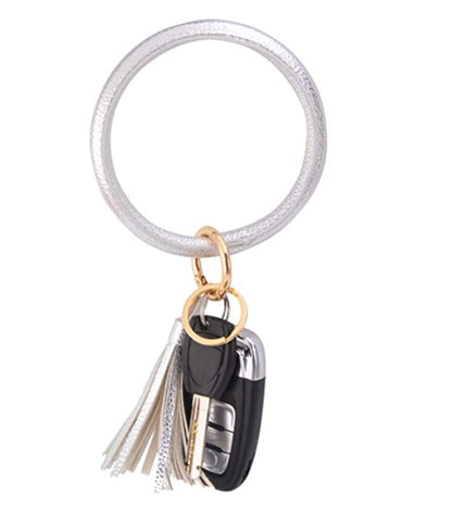 LEATHER KEYCHAIN BRACELET - SILVER