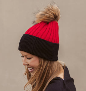 TWO TONED BEANIE RED/BLACK - TYPE 1 DIABETES