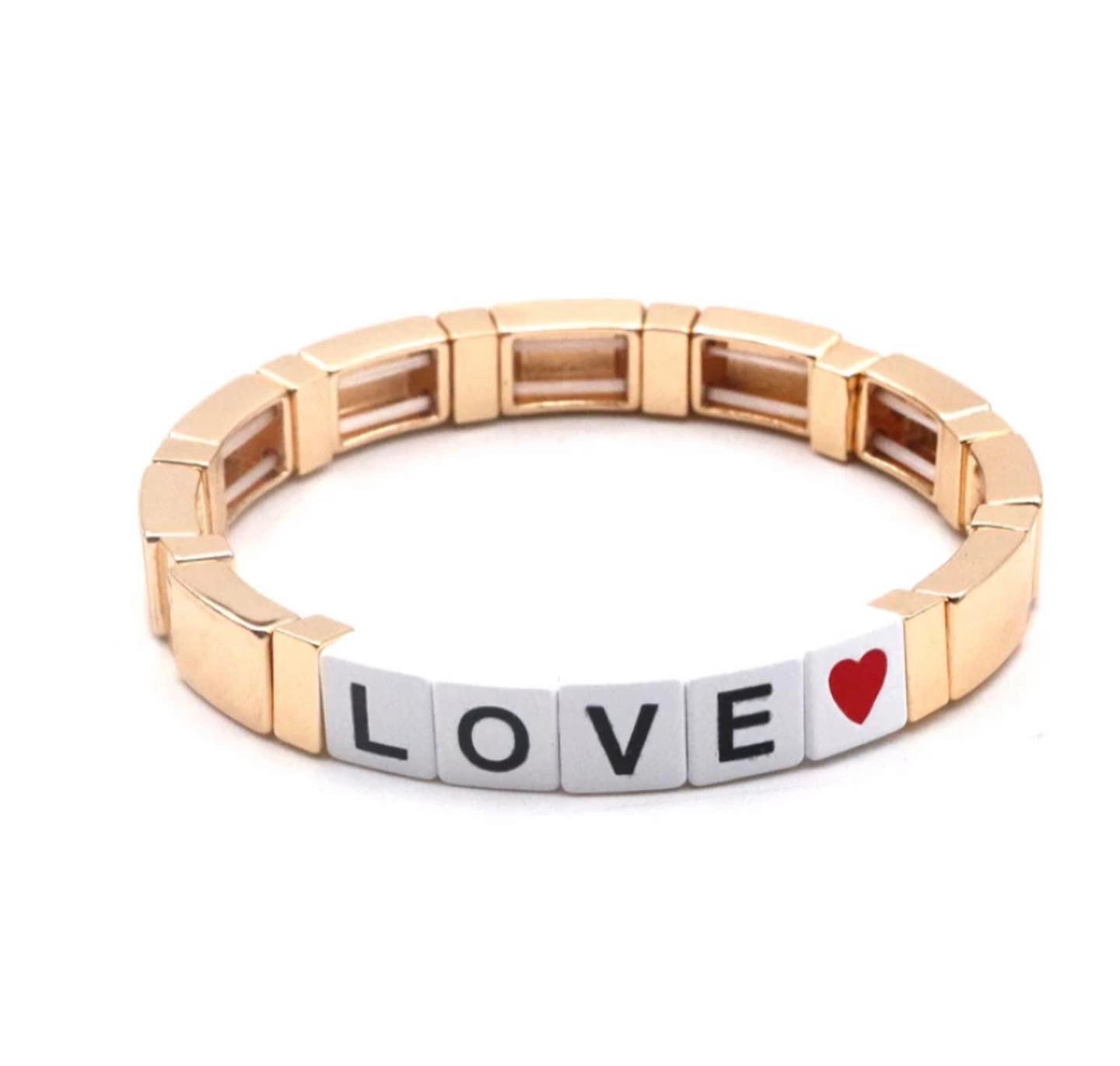 LOVE GOLD TILE BRACELET PW