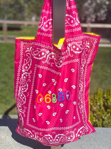 BANDANA BEACH BAG - EMBROIDERED ZIP