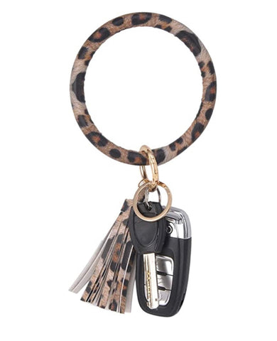 LEATHER KEYCHAIN BRACELET - CHEETAH