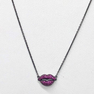 LIPS BLACK NECKLACE