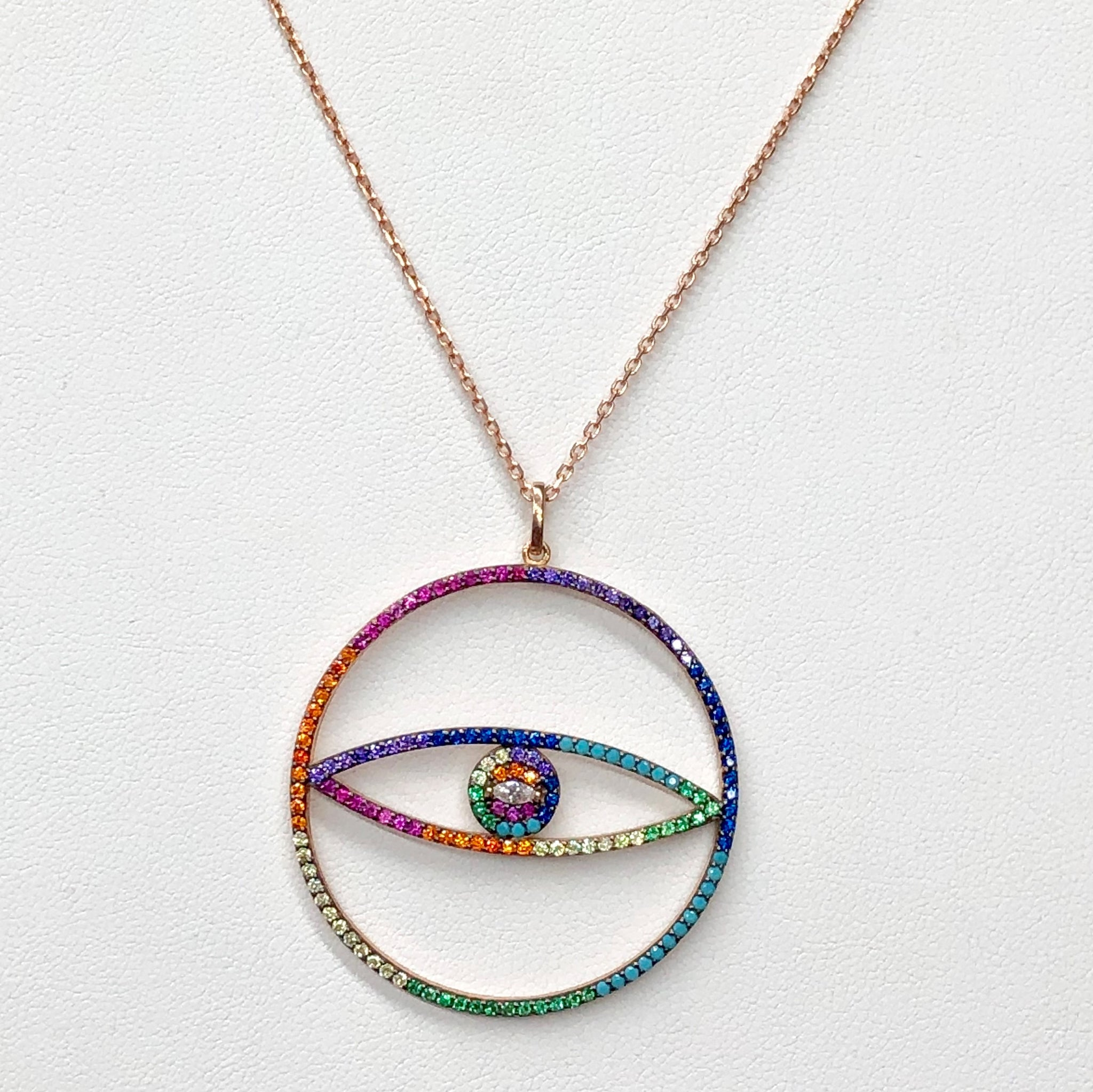 COLORED EVIL EYE NECKLACE PW