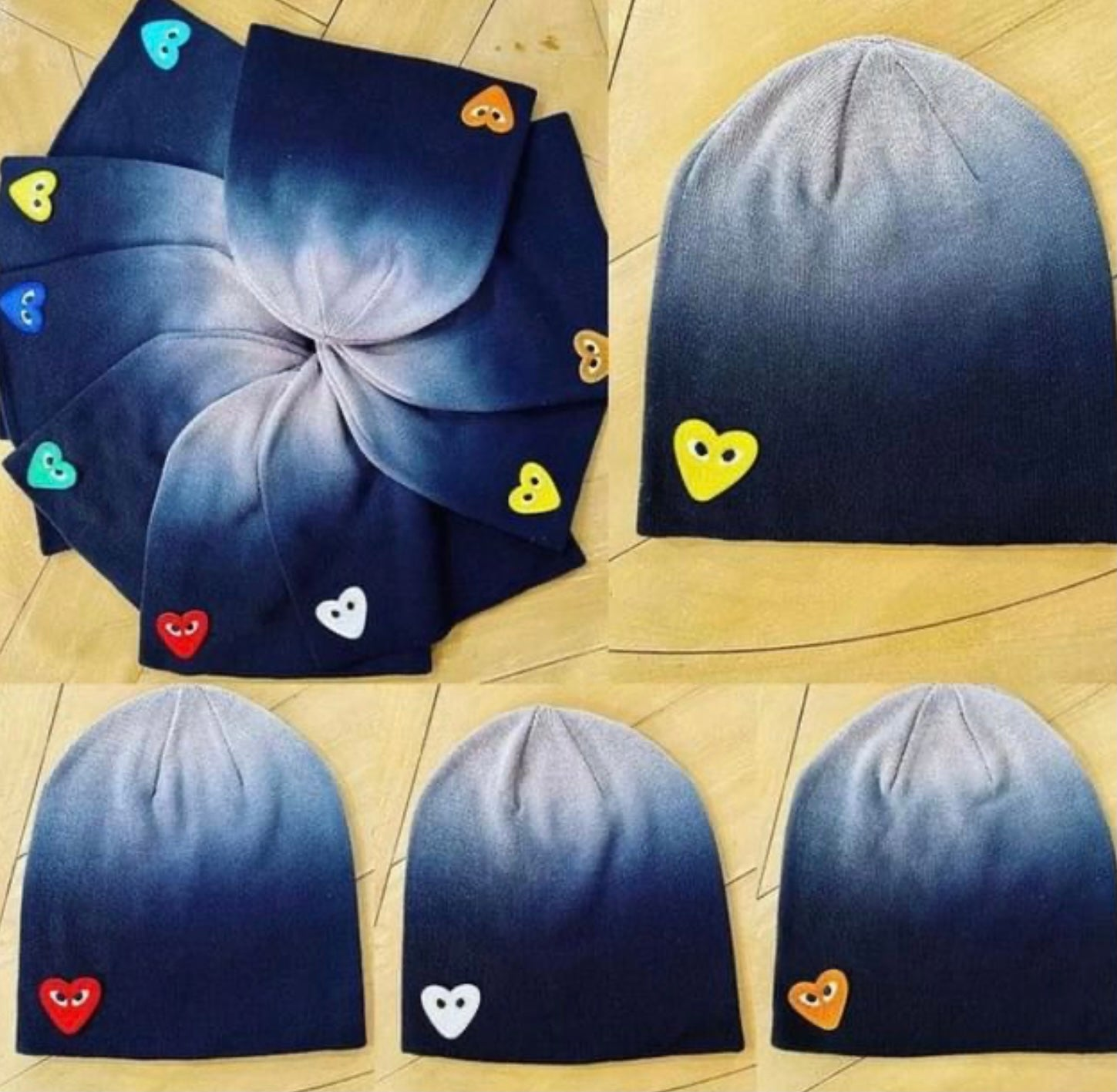 DIP DYED BEANIE WITH HEART