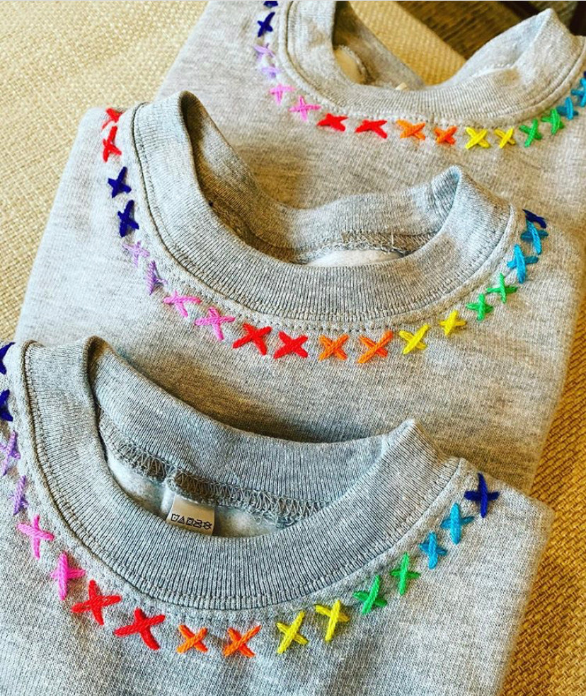 GREY SWEATSHIRT HAND EMBROIDERED - PW