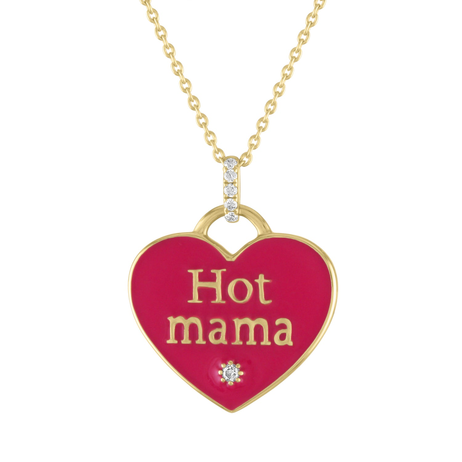 HOT MAMA RED ENAMEL NECKLACE