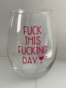STEMLESS WINE GLASS - F-UCK PINK