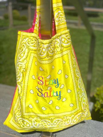 BANDANA BEACH BAG - EMBROIDERED SAYINGs
