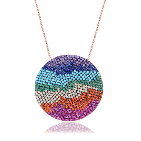 COLORED DISC NECKLACE