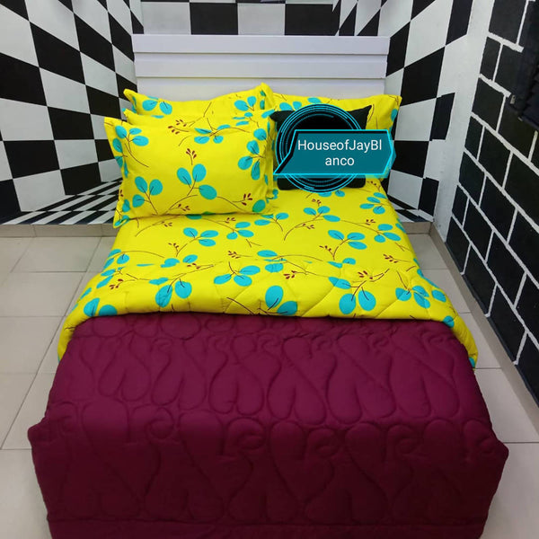 H.O.J Double Side: Cotton Duvet Cover set with 4 Pillow Cases- Lemon flower/ Maroon