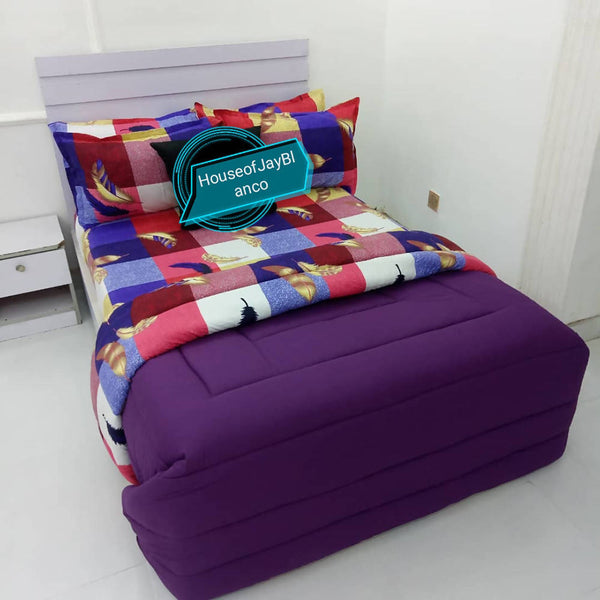 H.O.J Double Side: Cotton Duvet Cover set with 4 Pillow Cases- Pattern Purple