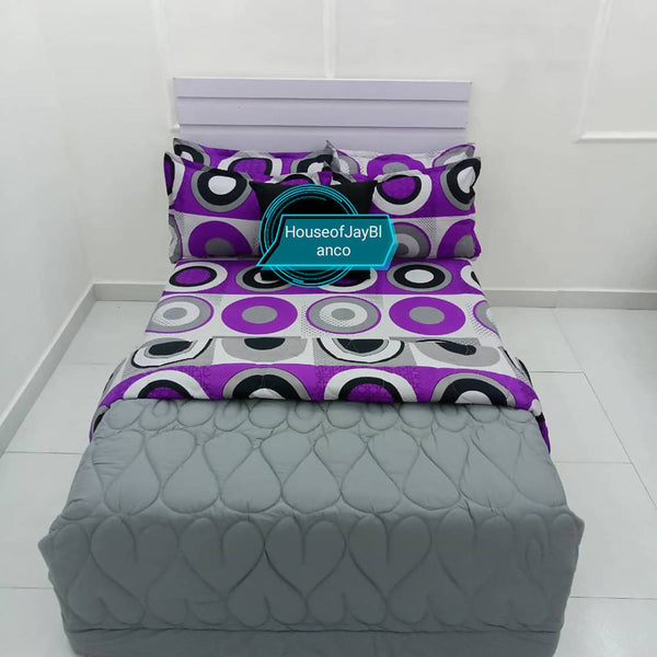 H.O.J Double Side: Cotton Duvet Cover set with 4 Pillow Cases- Dotted purple/ Grey