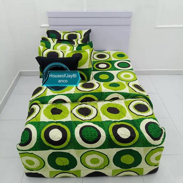 H.O.J Single Side: Cotton Duvet Cover set with 4 Pillow Cases- Dotted lemon green