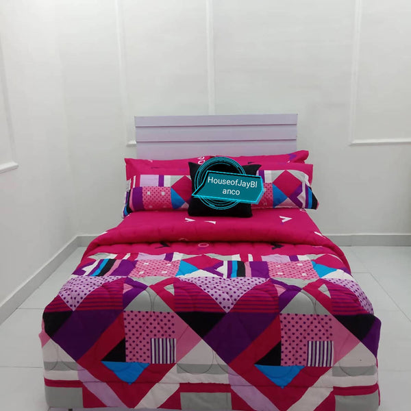 H.O.J Double Side: Cotton Duvet Cover set with 4 Pillow Cases- Pattern pink