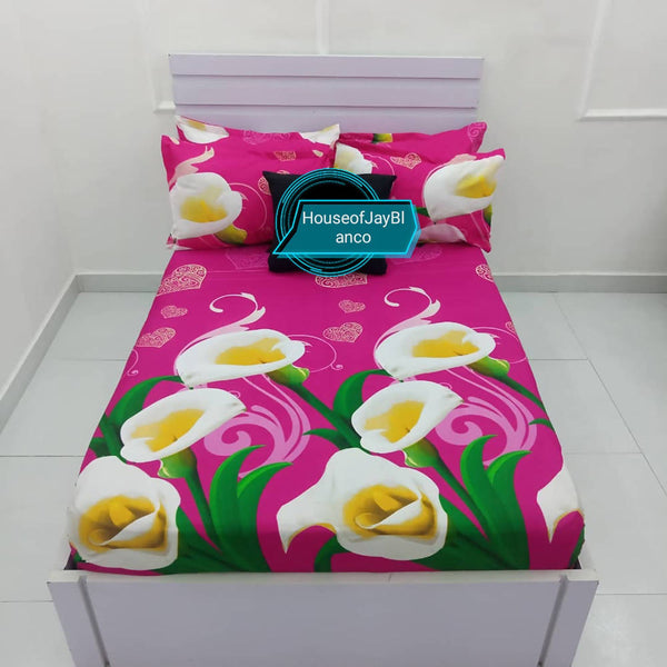 H.O.J Fitted Sheet Duck Egg with 4 pillow cases- Pink