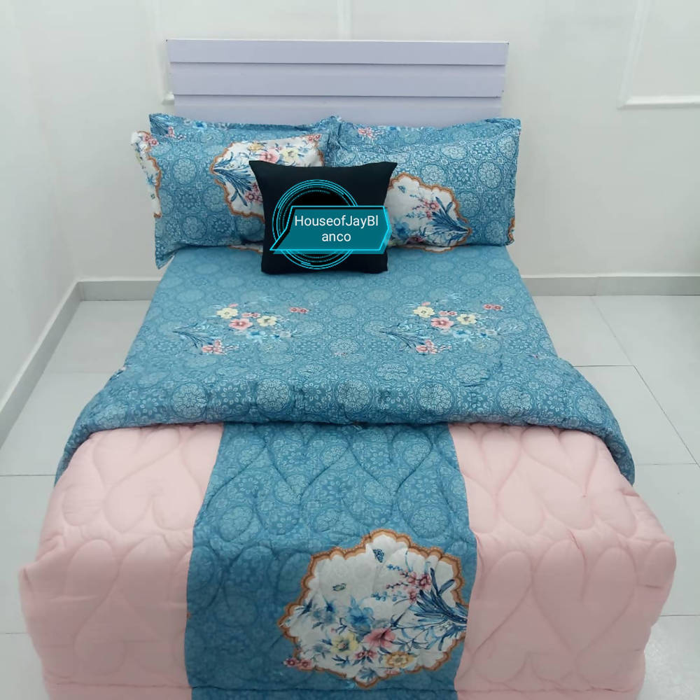 H.O.J Double Side: Cotton Duvet Cover Set With 4 Pillow Cases- Flower Blue & Peach