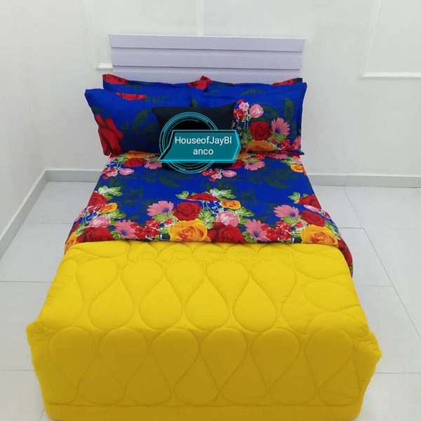 H.O.J Double Side: Cotton Duvet Cover set with 4 Pillow Cases- Yellow/ Flower blue