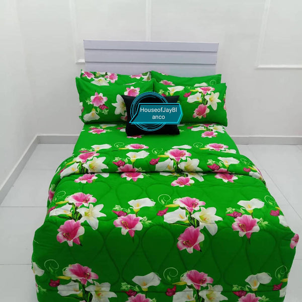 H.O.J Single Side: Cotton Duvet Cover set with 4 Pillow Cases- Flower green