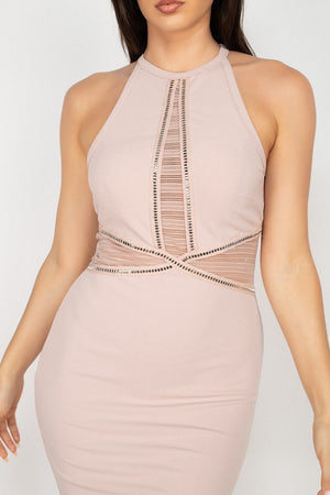 Rhinestone Trim Halter Dress