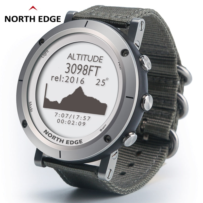 North Edge Men leather water proof, fishing, GPS Altimeter, Barometer,compass, altitude and Thermometer